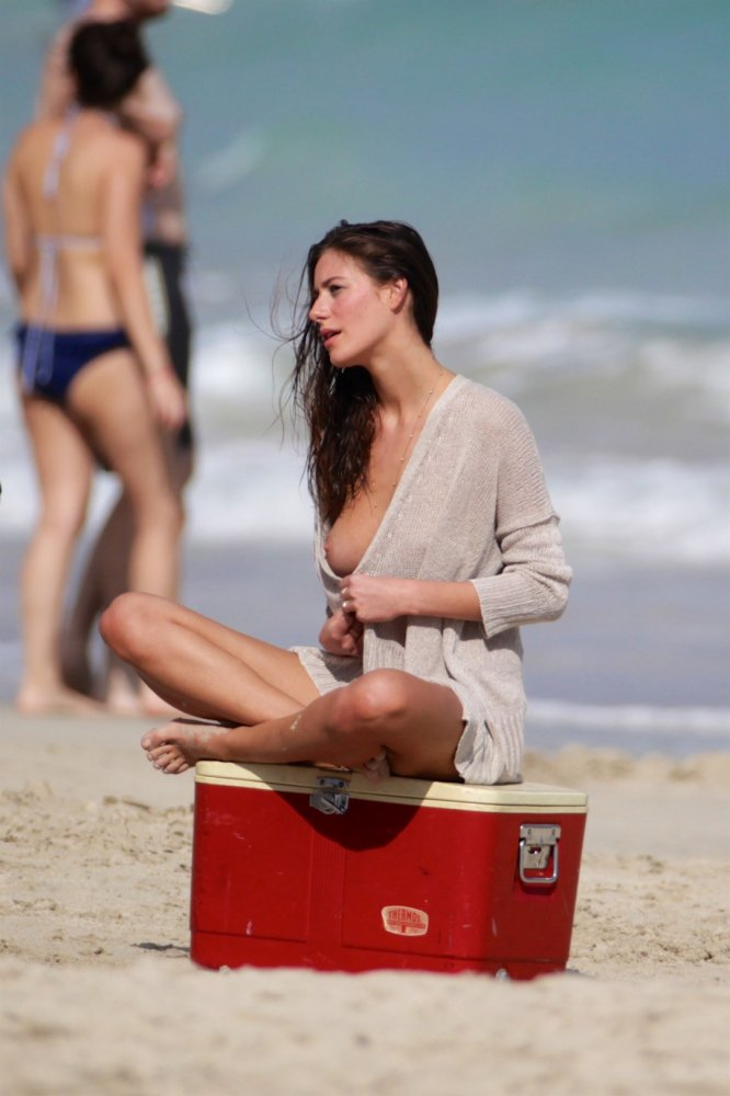 Alejandra Guilmant topless at a photoshoot in Miami